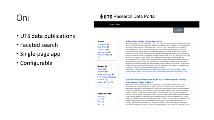 Oni / UTS data publications / Faceted search / Single-page app / Configurable
